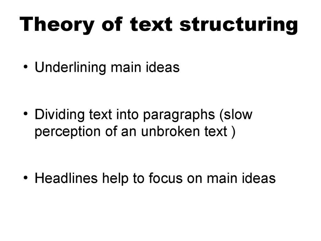 Theory of text structuring