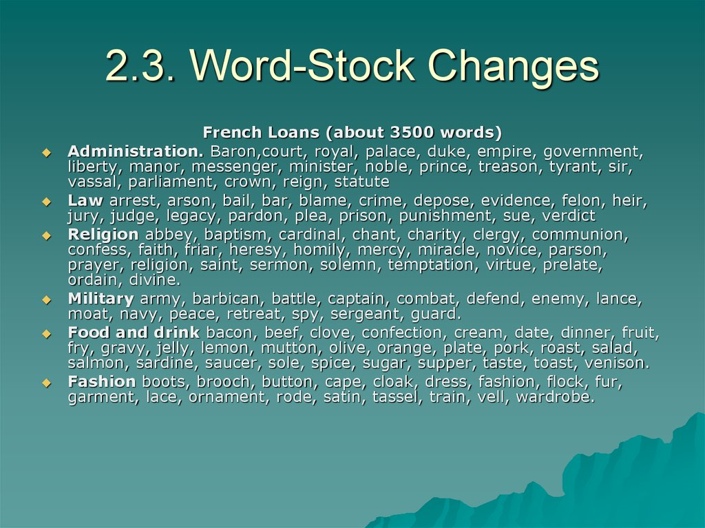 2.3. Word-Stock Changes