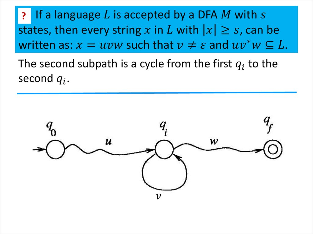 If a language L is accepted by a DFA M with s states, then every string x in L with |x|≥s, can be written as: x=uvw such that