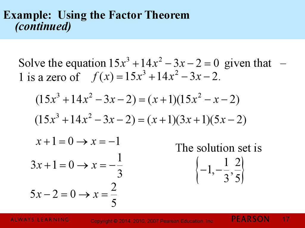 Example: Using the Factor Theorem (continued)