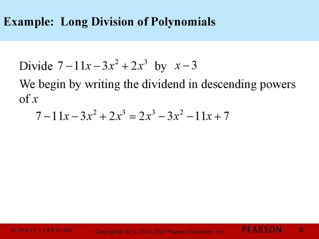 Example: Long Division of Polynomials