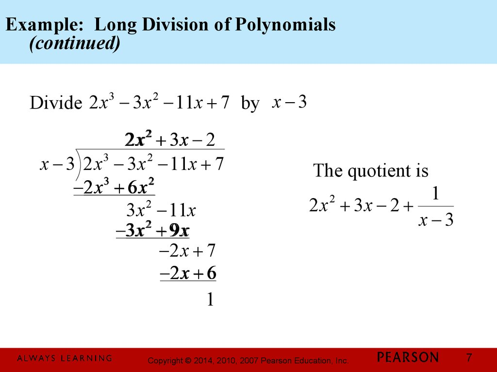 Example: Long Division of Polynomials (continued)