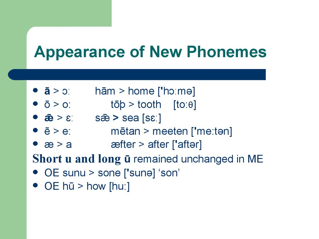 Appearance of New Phonemes