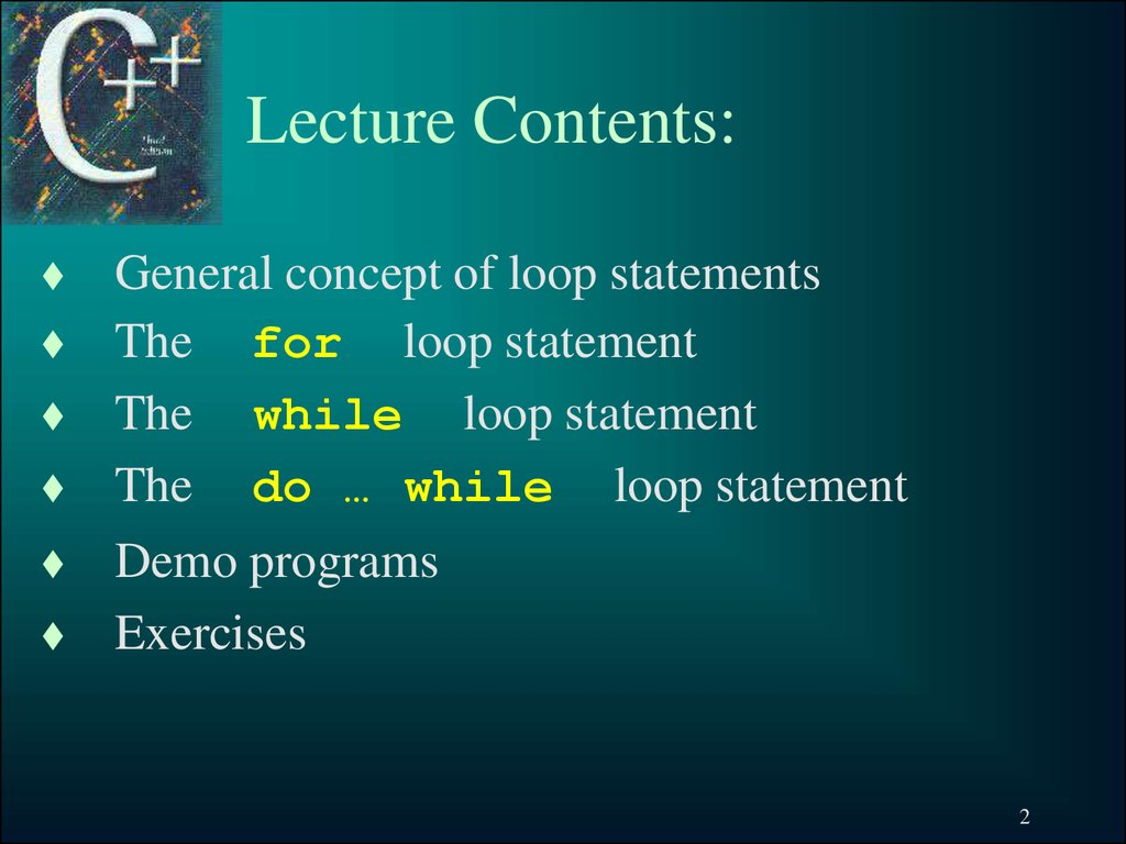 Lecture Contents: