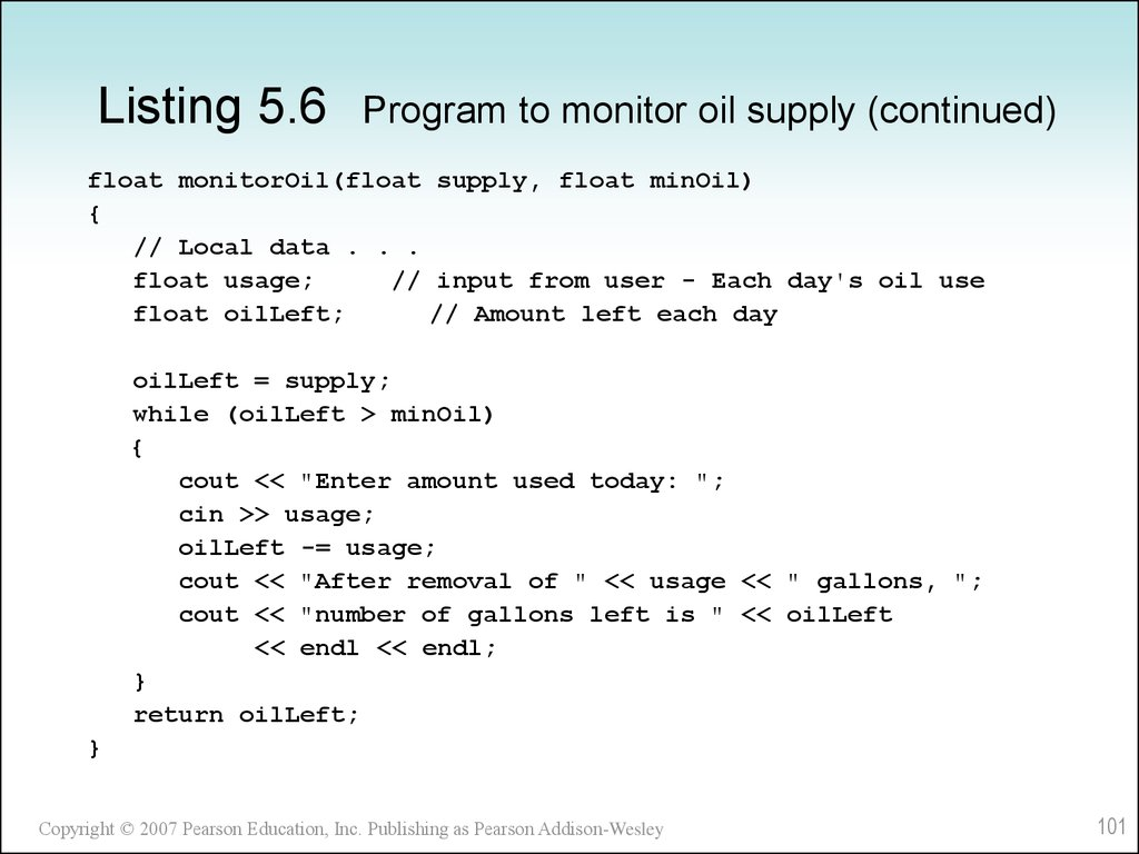 Listing 5.6 Program to monitor oil supply (continued)