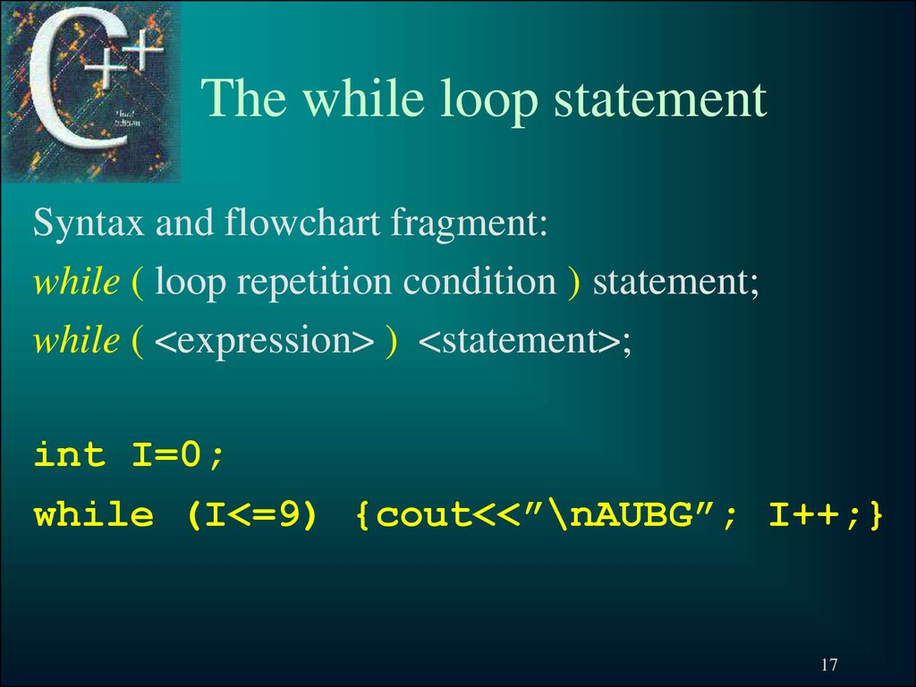 The while loop statement