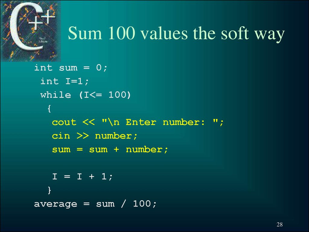 Sum 100 values the soft way