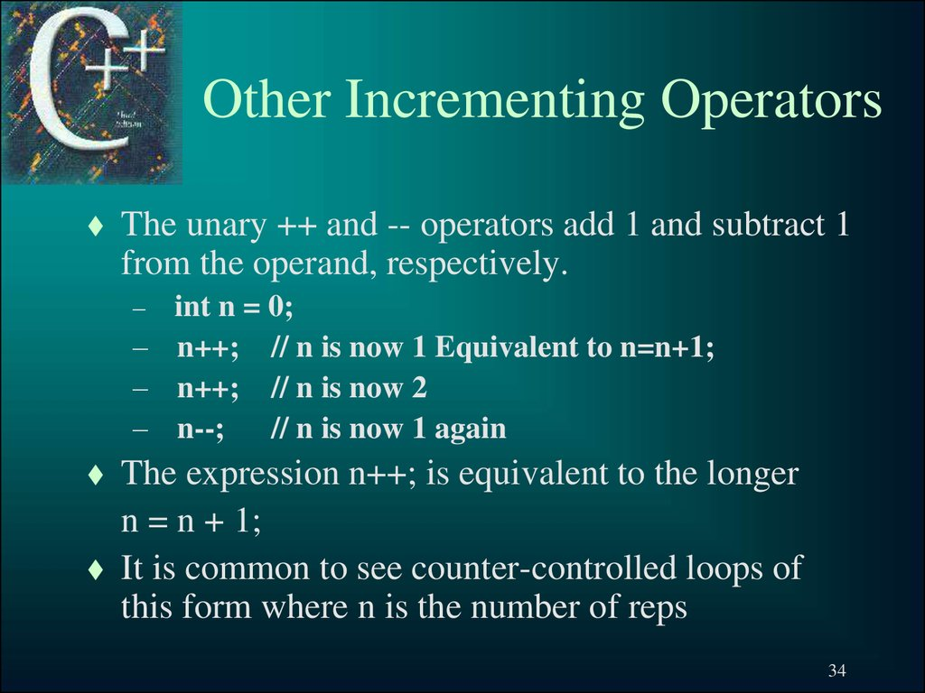Other Incrementing Operators