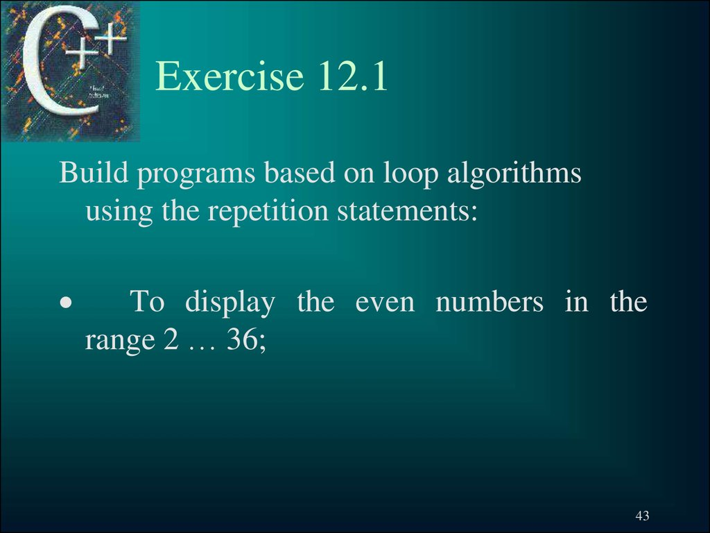 Exercise 12.1