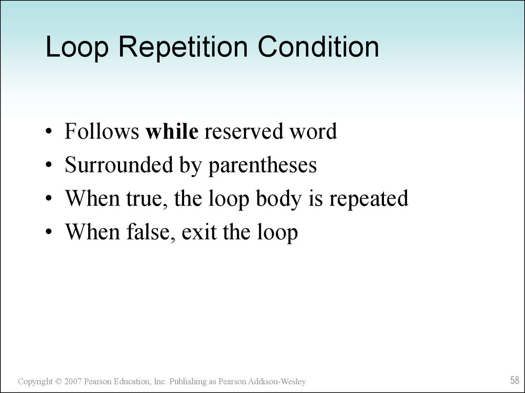 Loop Repetition Condition