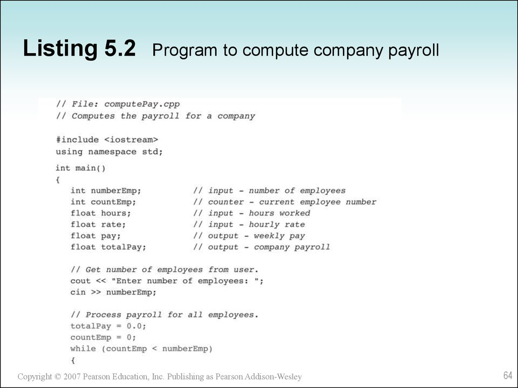Listing 5.2 Program to compute company payroll