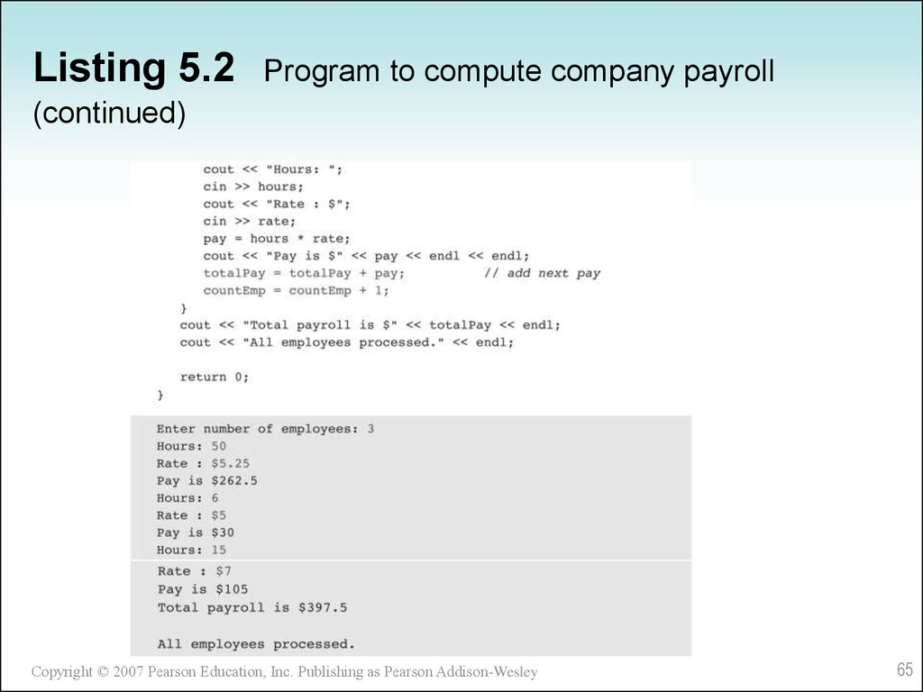 Listing 5.2 Program to compute company payroll (continued)