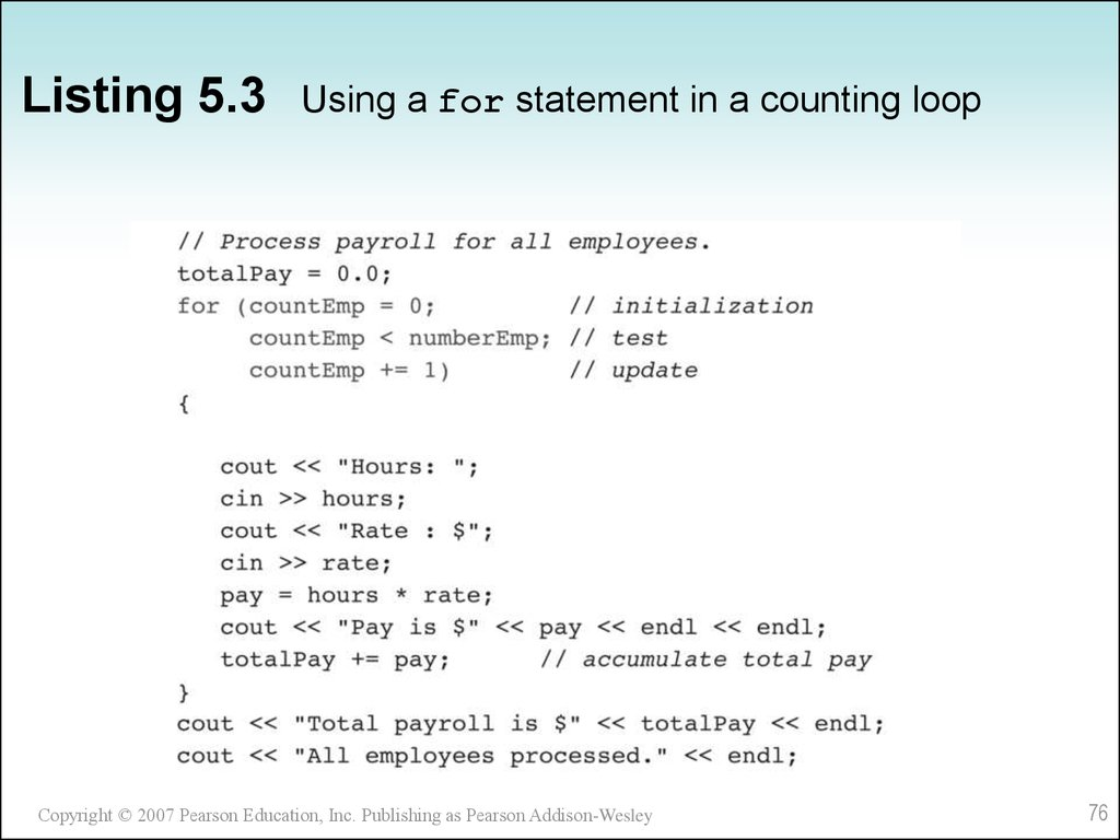 Listing 5.3 Using a for statement in a counting loop