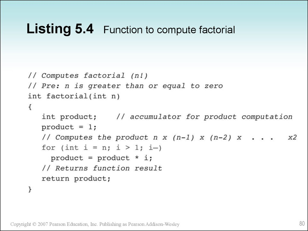 Listing 5.4 Function to compute factorial