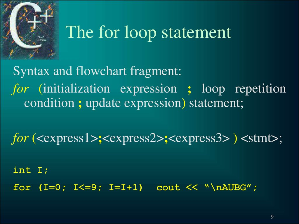 The for loop statement