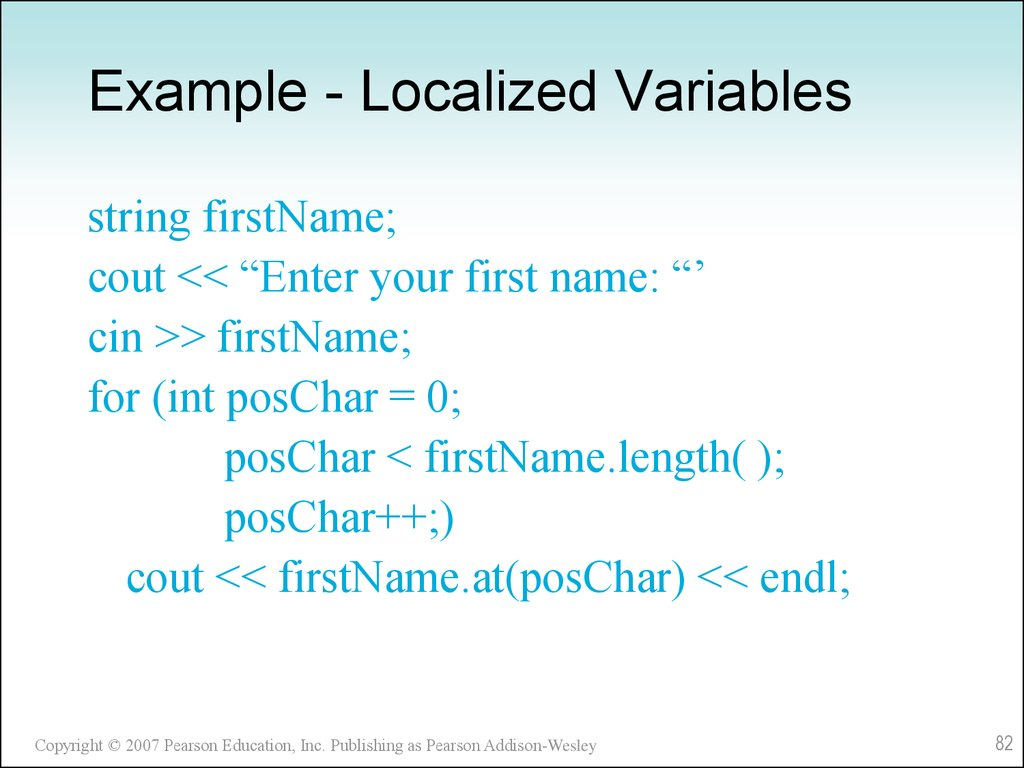 Example - Localized Variables