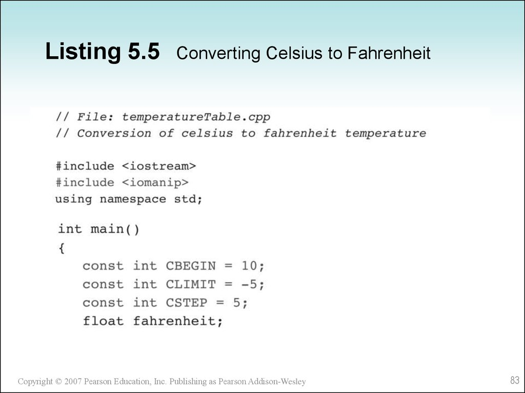 Listing 5.5 Converting Celsius to Fahrenheit