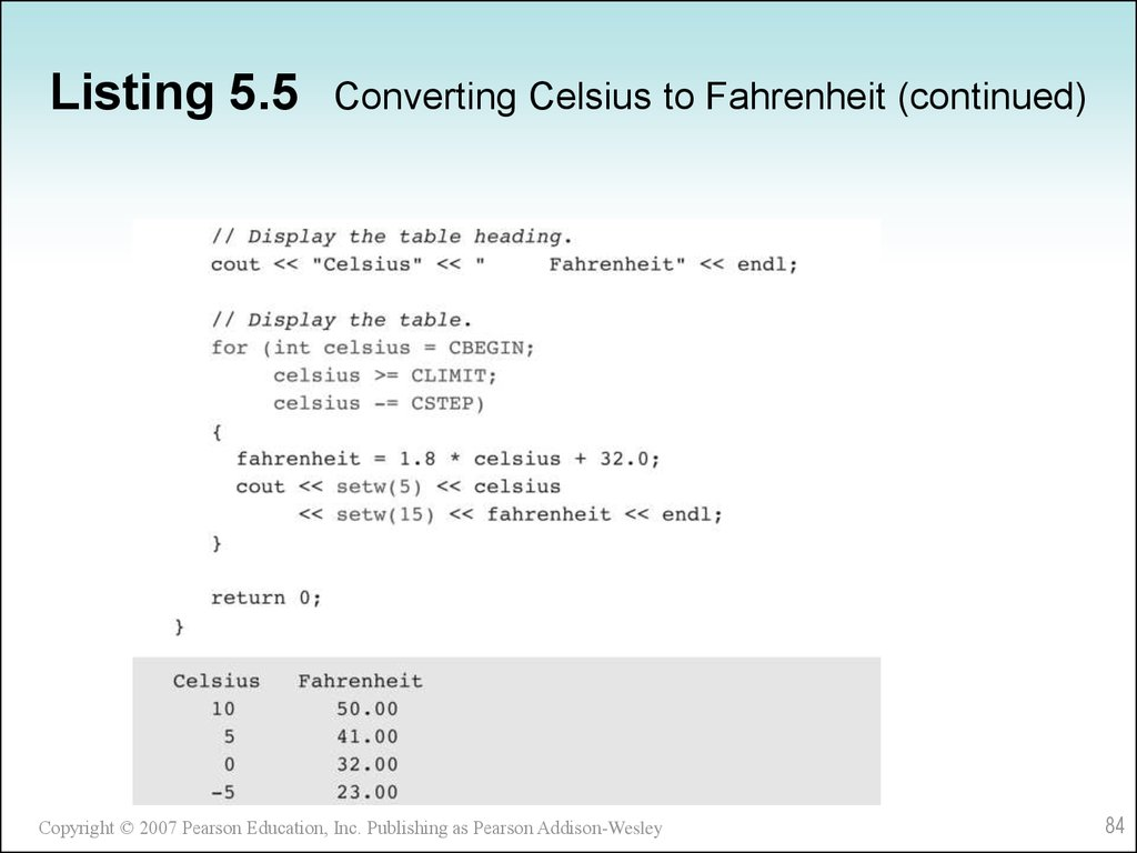 Listing 5.5 Converting Celsius to Fahrenheit (continued)