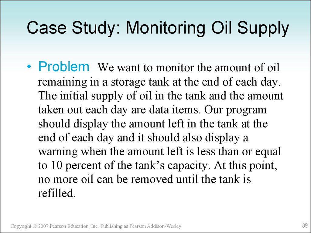 Case Study: Monitoring Oil Supply