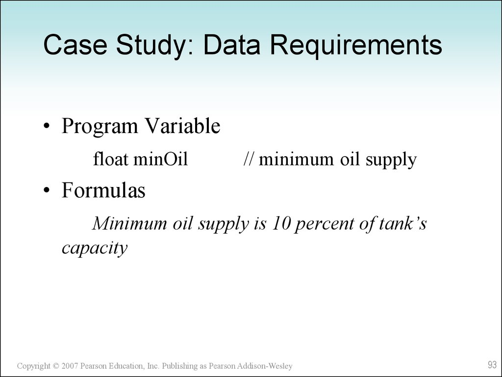 Case Study: Data Requirements