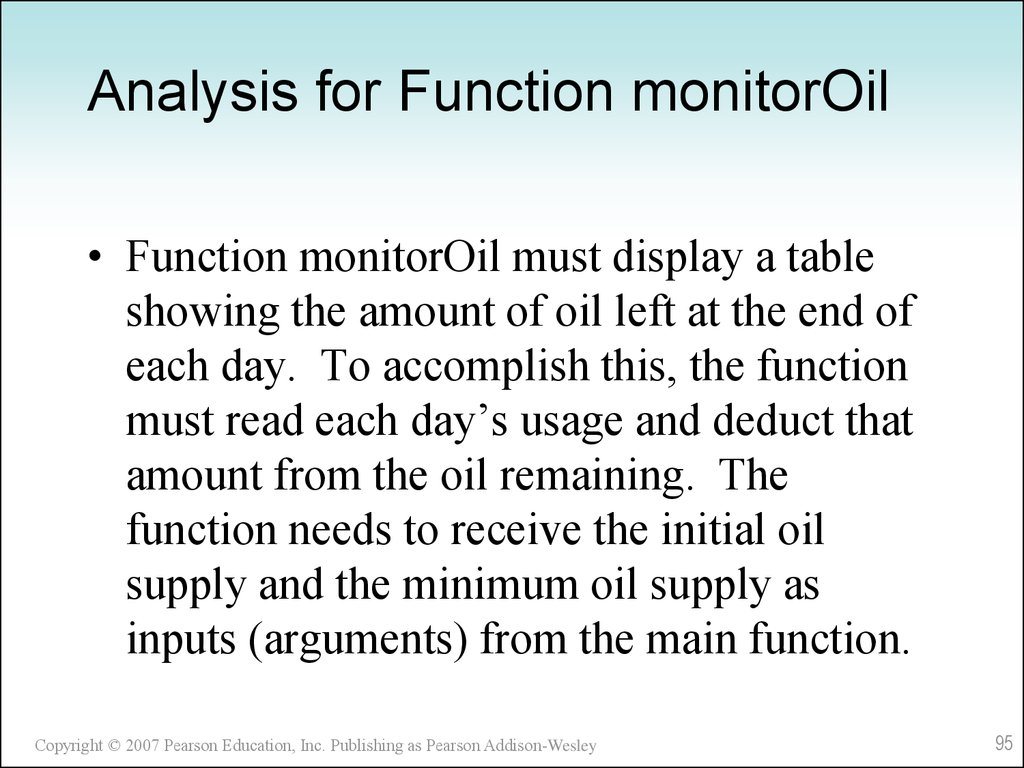 Analysis for Function monitorOil