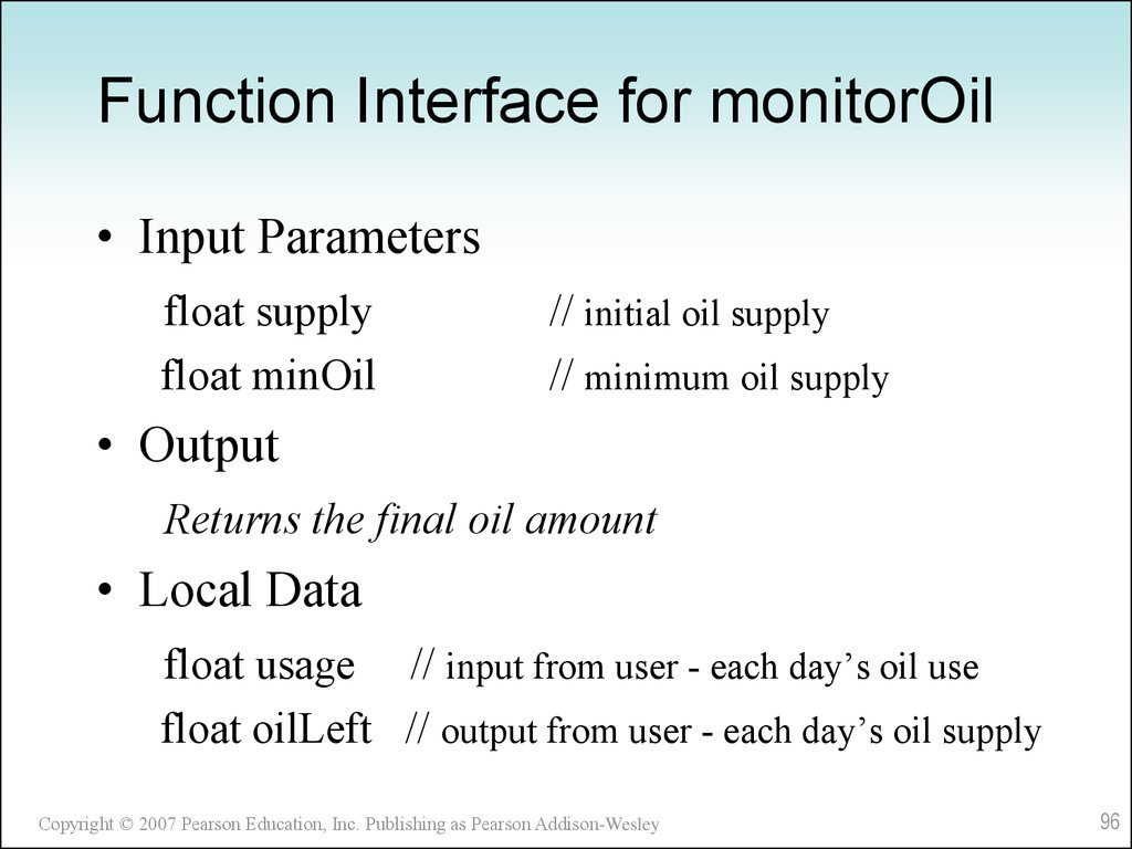 Function Interface for monitorOil