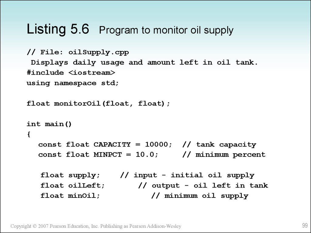Listing 5.6 Program to monitor oil supply