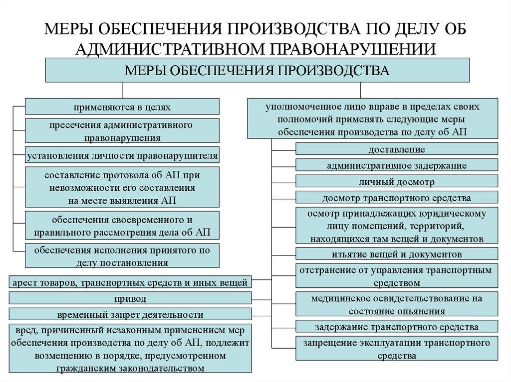 Применение мер обеспечения производства по делам об административных правонарушениях