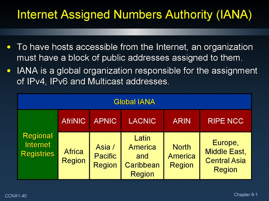 Internet Assigned Numbers Authority (IANA)