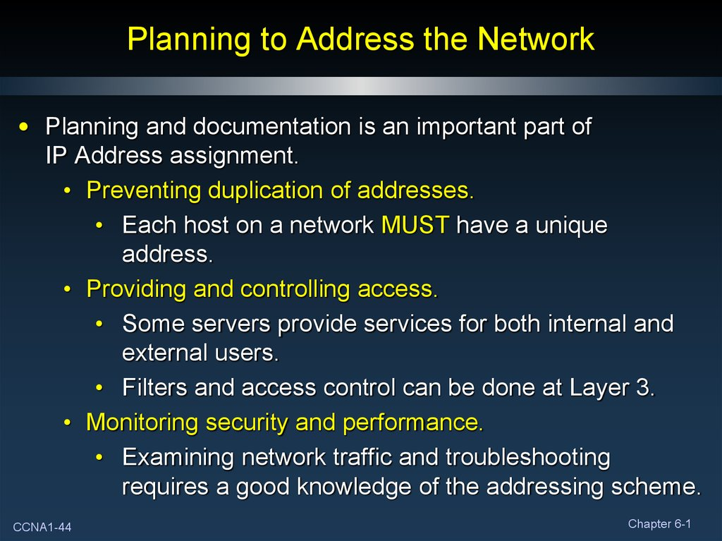 Planning to Address the Network