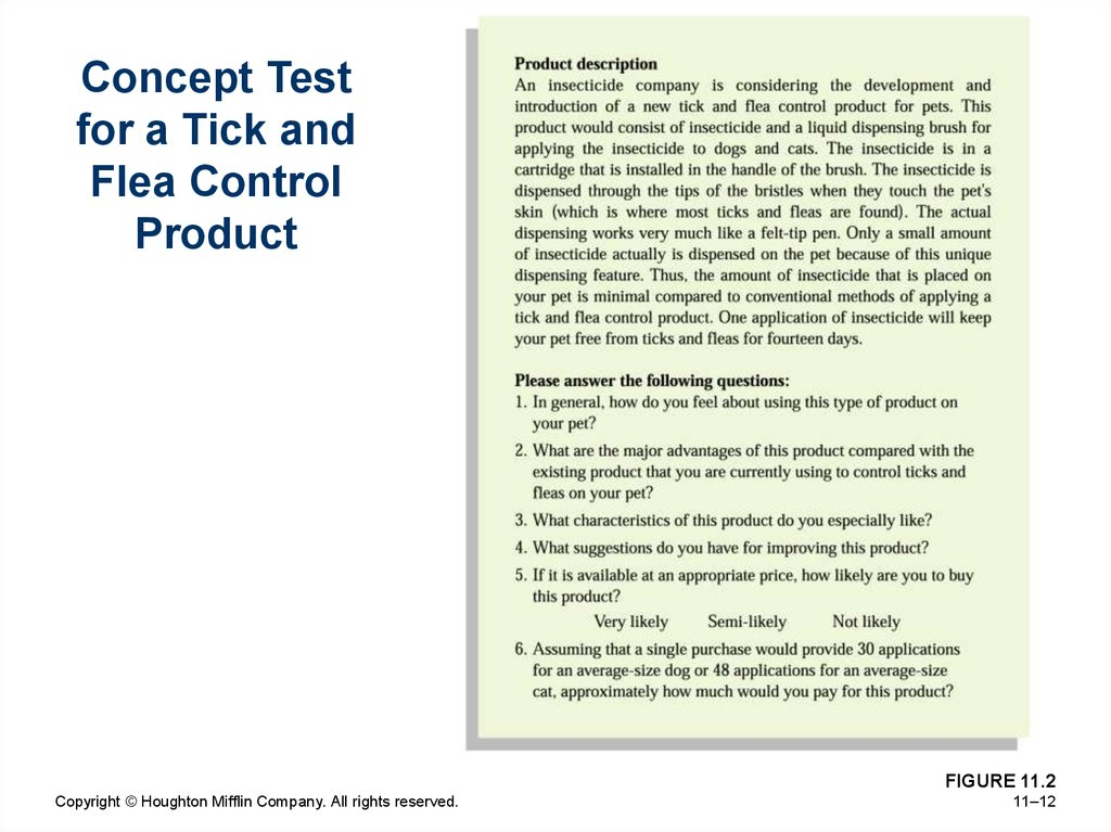 Concept Test for a Tick and Flea Control Product