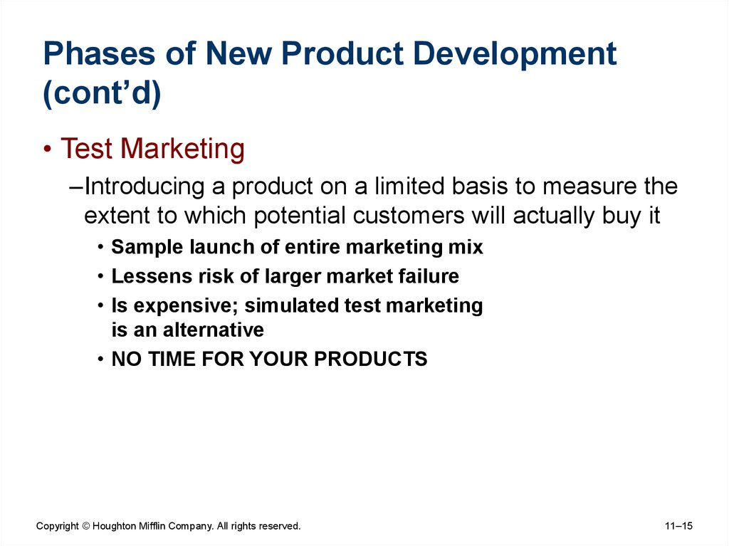 Phases of New Product Development (cont'd)