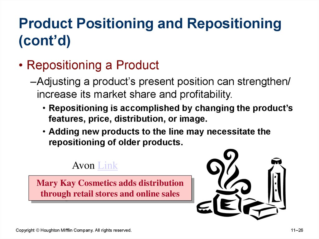 Product Positioning and Repositioning (cont'd)