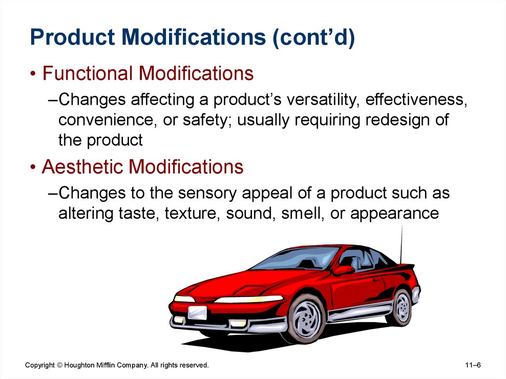 Product Modifications (cont'd)