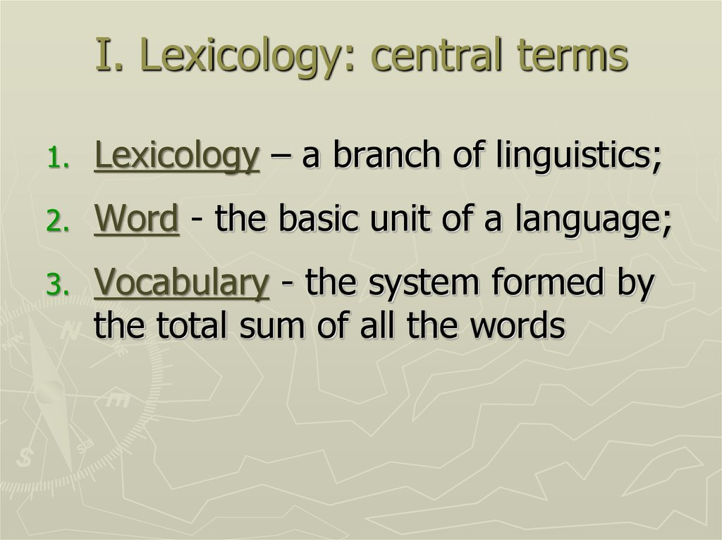 I. Lexicology: central terms