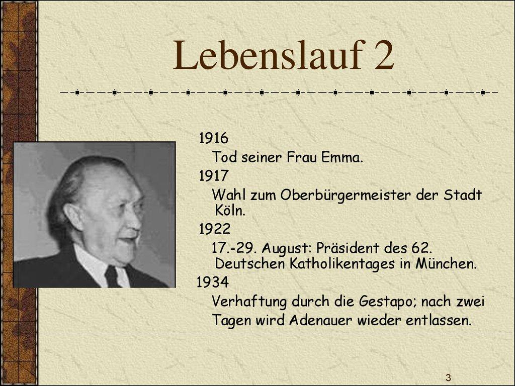 lebenslauf 2 - Konrad Adenauer Lebenslauf