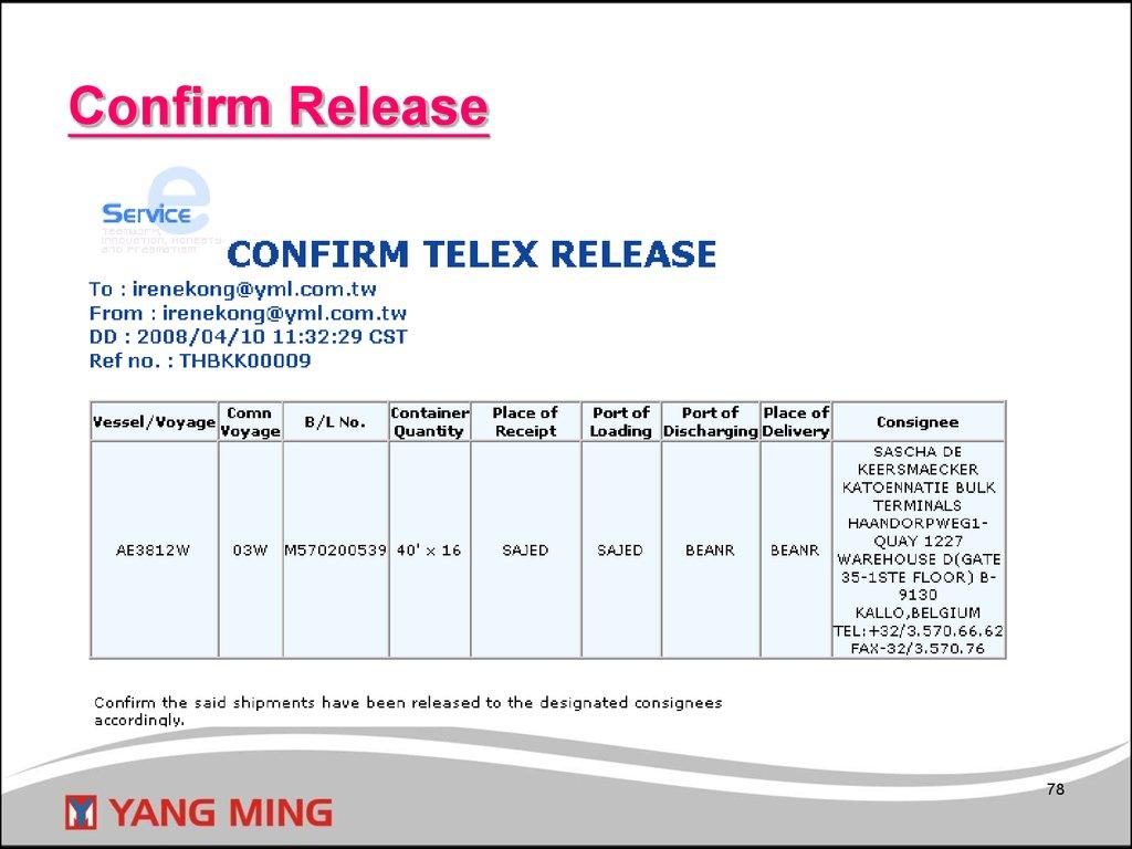 Web Telex Release System - online presentation