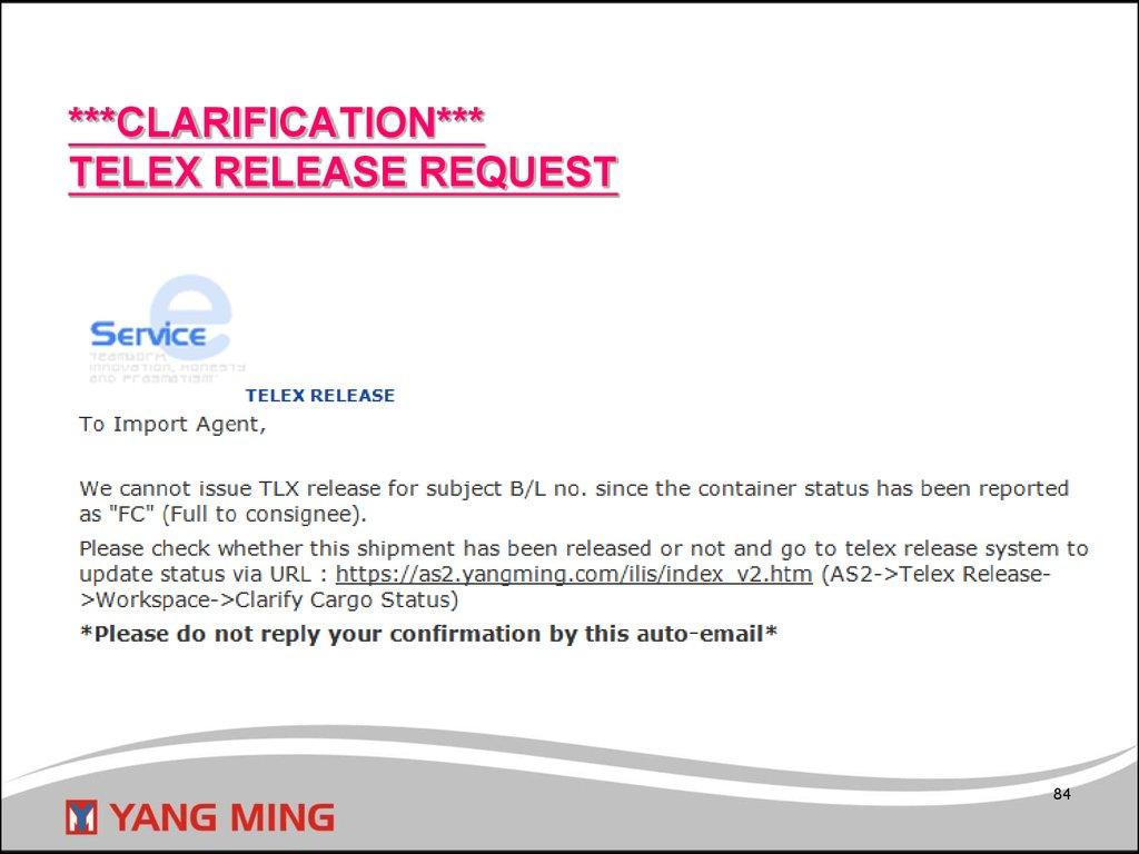 Web Telex Release System - презентация онлайн