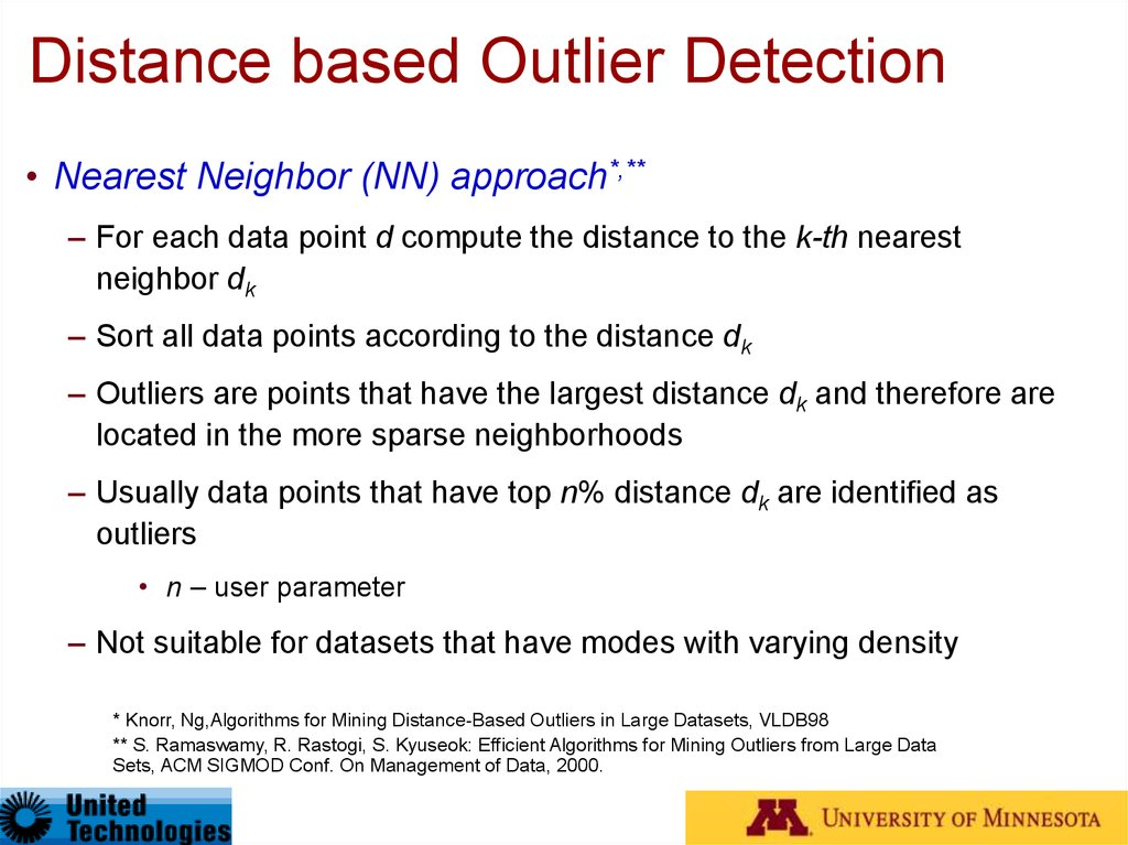 Distance based Outlier Detection