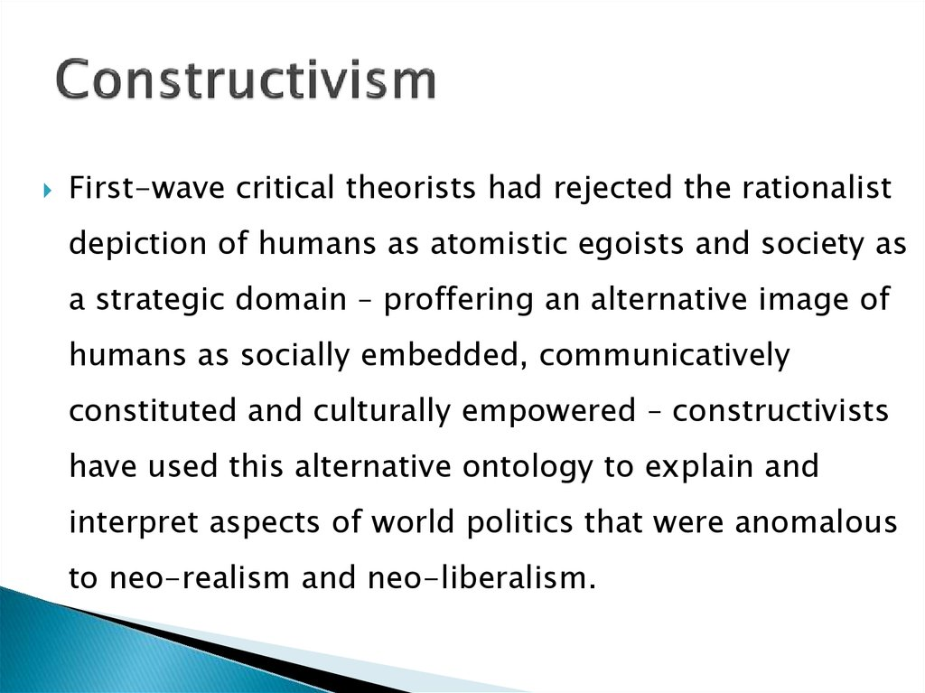realism liberalism constructivism Various views in international politics: attempting to differentiate realism, liberalism, and constructivism.