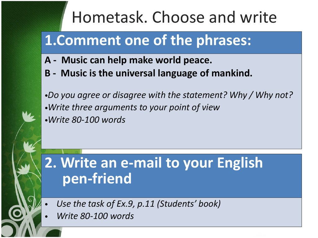 Hometask. Choose and write