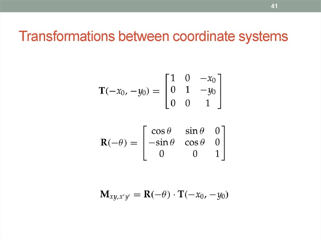 Transformations between coordinate systems
