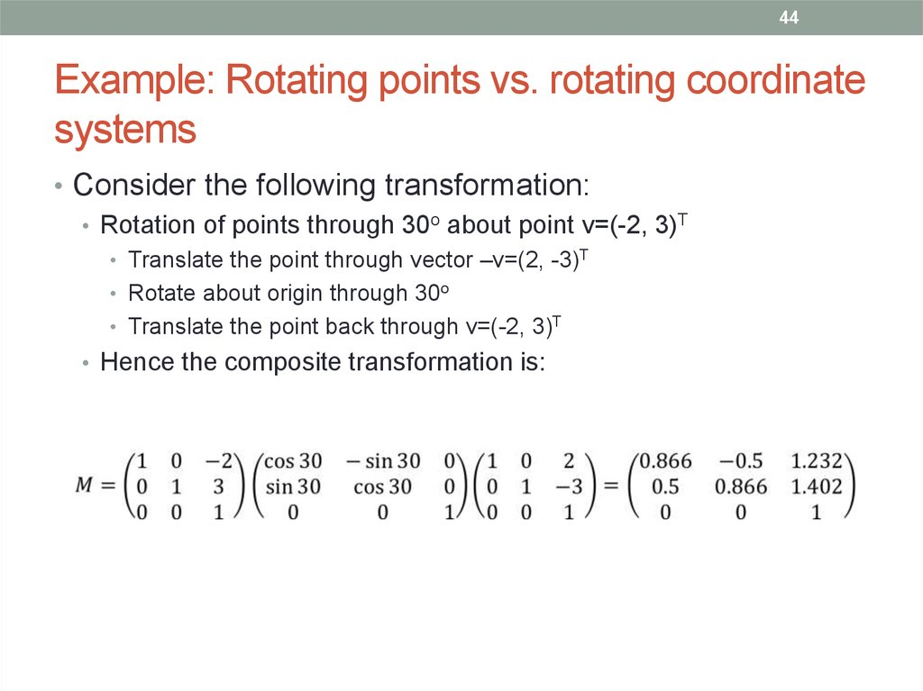 Example: Rotating points vs. rotating coordinate systems
