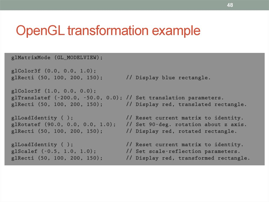 OpenGL transformation example