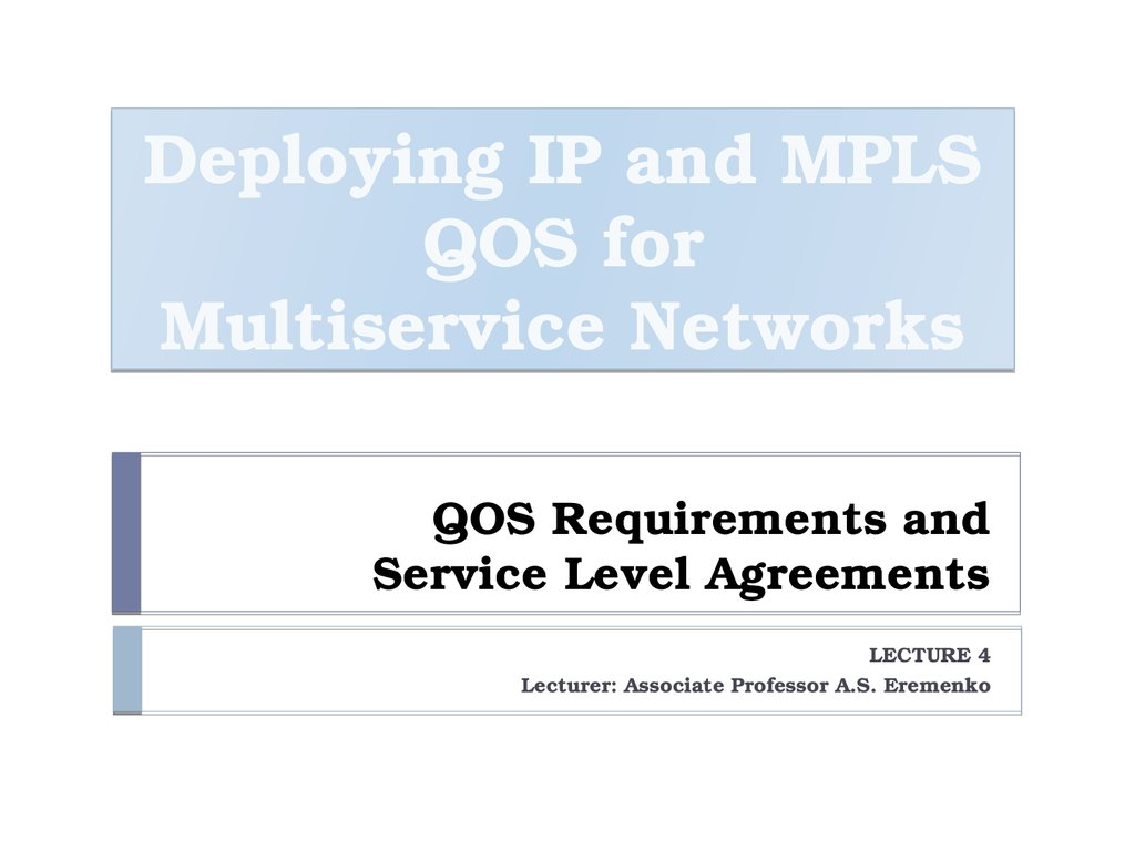 Qos Requirements And Service Level Agreements Application Sla