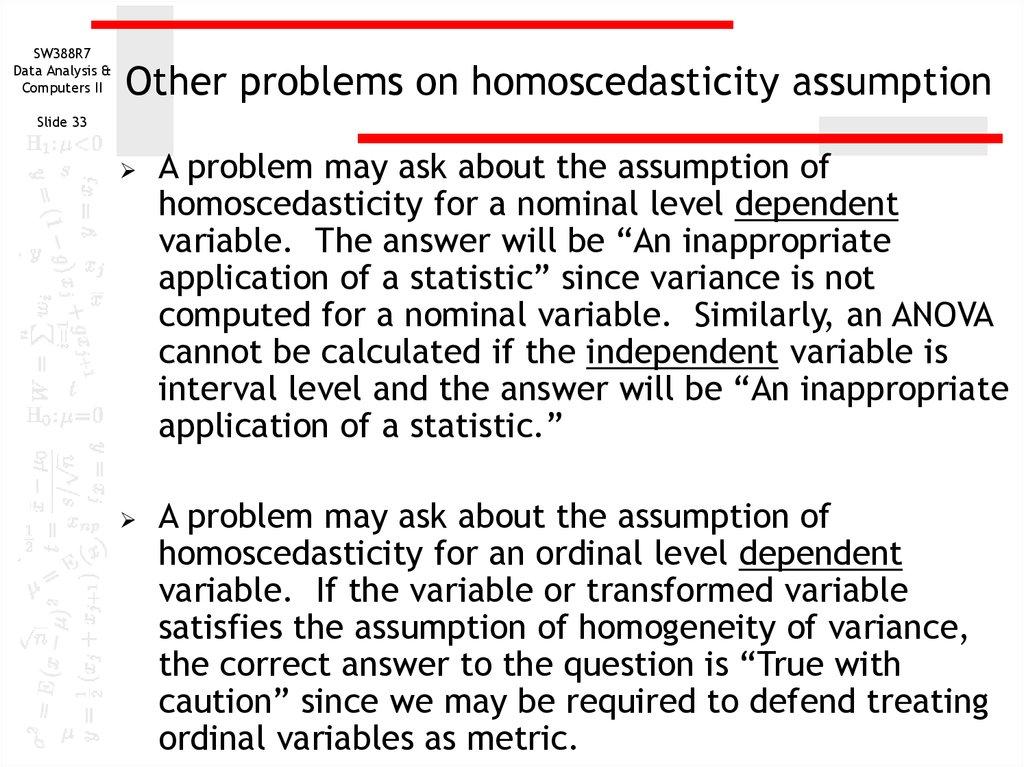 Assumption of homoscedasticty - online presentation