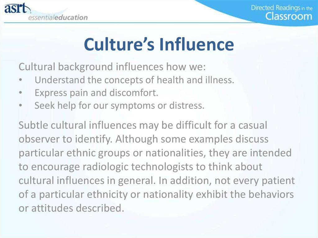 a description of how a cultural background influences an author in writing Whether you write about another culture or your own, the key to writing an effective cultural narrative is to focus on a single aspect of the culture your descriptive essay should have a central idea that guides the content and provides description -- or specific details -- about the topic the.