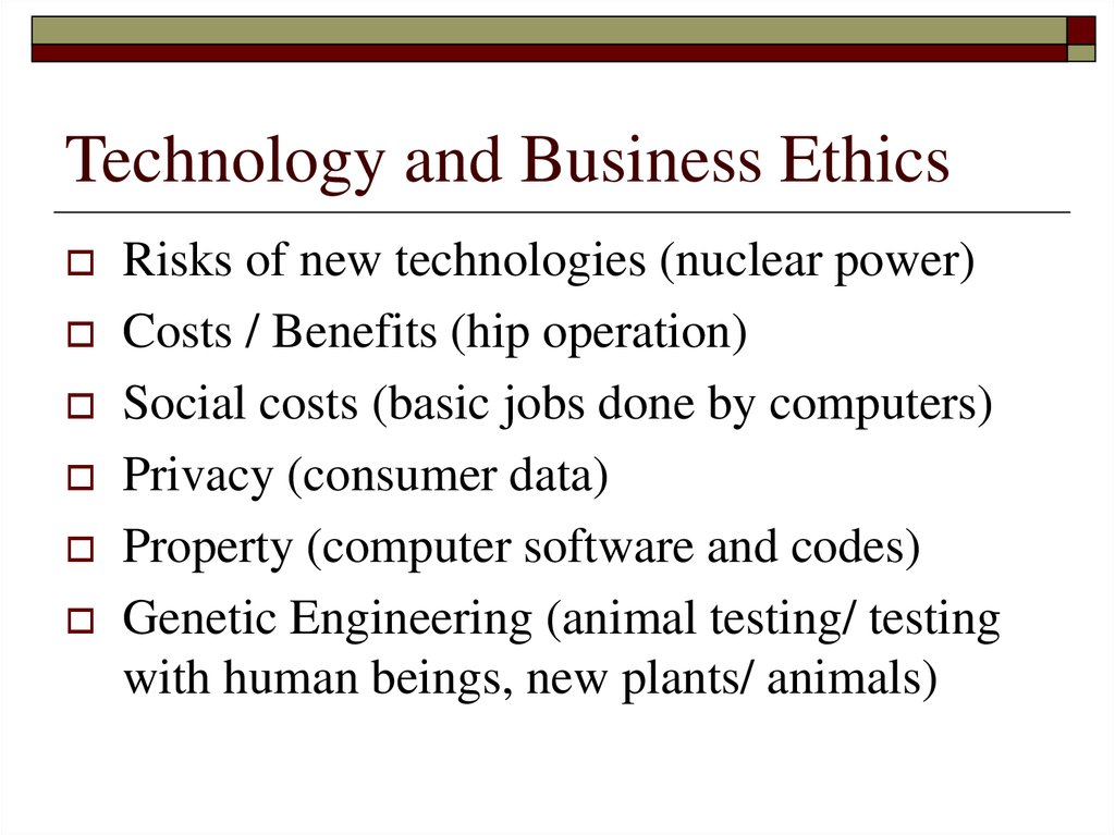 Technology and Business Ethics