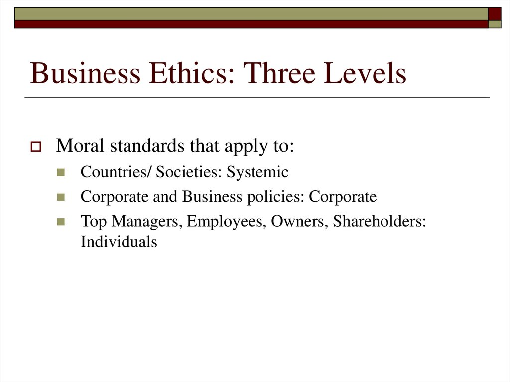 Business Ethics: Three Levels