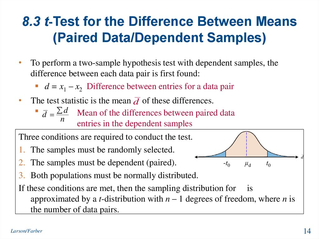 8.3 t-Test for the Difference Between Means (Paired Data/Dependent Samples)